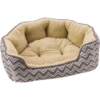 "Sleep Zone 24"" Chevron Step-In Scallop Shape Dog Bed-Gray - gray"