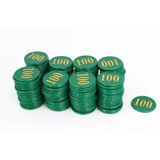 Unique Bargains Plastic Numbers 100 Pattern Poker Chips Green 160 Pcs w Case