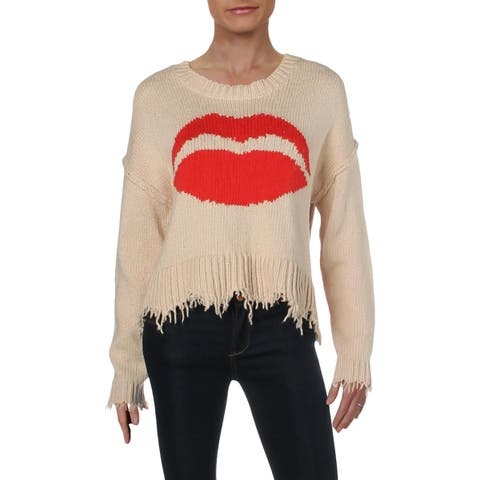 Wildfox Womens First Kiss Crop Sweater Graphic Oversized - XS