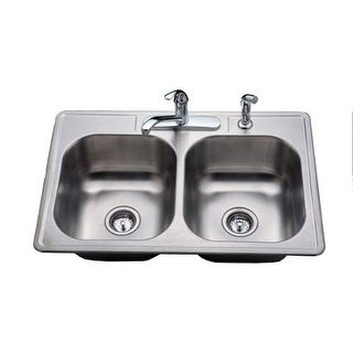 "ProFlo PFCS100 33"" Double Basin Drop In Kitchen Sink with 50/50 Split - Kitchen"
