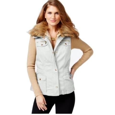 INC Women's Convertible Faux-Fur Anorak Vest White (M)