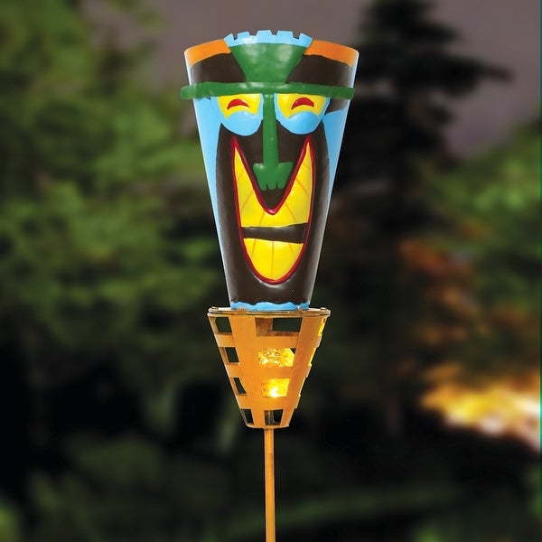 """Outdoor Tiki Torches - Solar Powered LED Light - Metal Yard Art - 48"""" High - Big Happy Smile - Multi-Colored"""