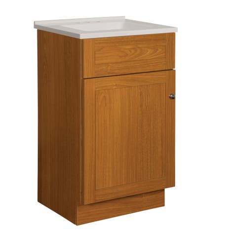 "Foremost DNVT1816 Dennison 19"" Free Standing Single Basin Vanity Set with Wood Cabinet, Stone Composite Vanity Top and"