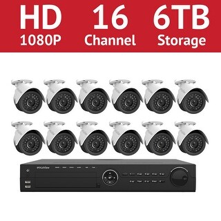 LaView 16-Channel 1080P IP Surveillance 6TB NVR Security System (12) 1080P Wired Indoor/Outdoor Cameras Free Remote View