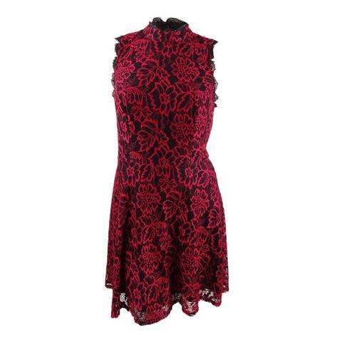 City Studios Women's Plus Size Lace Fit & Flare Dress