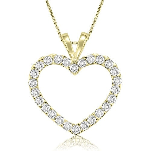 0.50 cttw. 14K Yellow Gold Classic Heart Shape Diamond Pendant