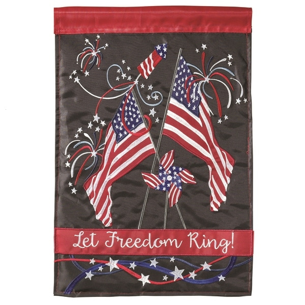 "Red, White and Blue American Flag and Fireworks ""Let Freedom Ring"" Garden Flag 13"" x 18"" - N/A"