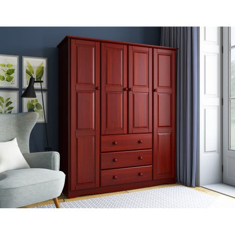 Palace Imports Family 4-door Solid Wood Wardrobe (No Shelves Included)