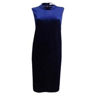 BCBGeneration Women's Illusion Metallic Velvet Shift Dress - Navy