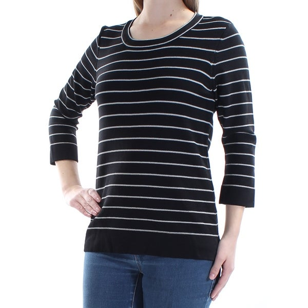 837c6edbe9b2 Shop Womens Black White Striped Long Sleeve Scoop Neck Casual Top Size M -  Free Shipping On Orders Over $45 - Overstock - 21265409