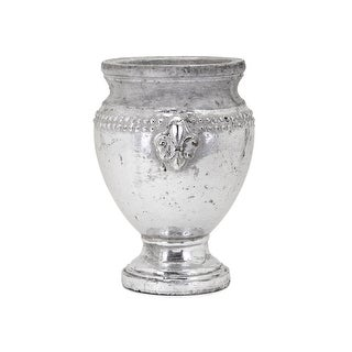 IMAX Home 41012  Tawnee Medium Ceramic Vase - Silver