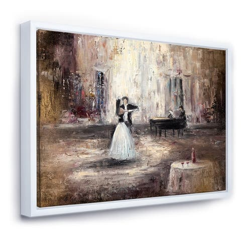 Designart 'Black And White Couple Dancing In Hall With Piano' Traditional Framed Canvas Wall Art Print
