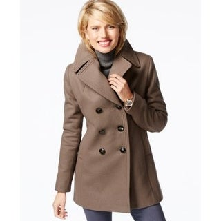 Kenneth Cole Reaction Double-Breasted Peacoat Coffee Medium