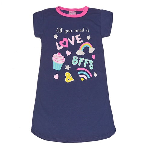 """Sweet n Sassy Little Girls Navy """"All You Need Is Love"""" Print Nightgown"""