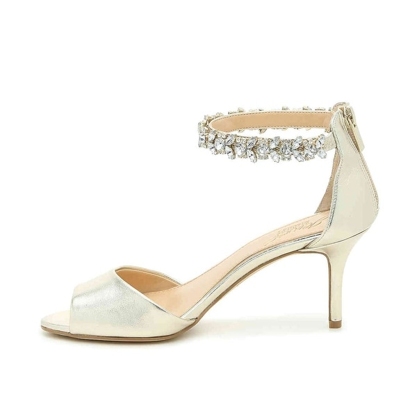 BADGLEY MISCHKA Womens Genevieve Fabric Peep Toe Special Occasion Ankle Strap... - 9