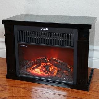 Della 1200 Watt Hearth Portable Electric Fireplace Log Flame Mini Desk Tabletop, Black
