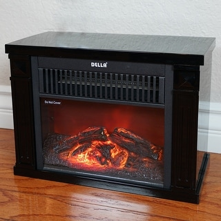 Superior Della 1200 Watt Hearth Portable Electric Fireplace Log Flame Mini Desk  Tabletop, Black