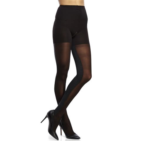 Assets Textured Sheer Contrast Tight Black