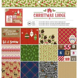 "American Crafts Single-Sided Paper Pad 12""X12"" 24/Pkg-Christmas Lodge, 12 Designs/2 Each