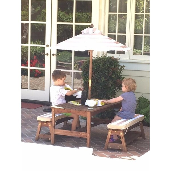 Shop KidKraft Outdoor Table & Bench Set with Cushions & Umbrella - Free  Shipping Today - Overstock.com - 9995797 - Shop KidKraft Outdoor Table & Bench Set With Cushions & Umbrella