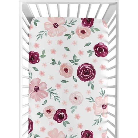 Burgundy and Pink Watercolor Floral Girl Fitted Crib Sheet - Blush Maroon Wine Rose Green and White Shabby Chic Flower Farmhouse