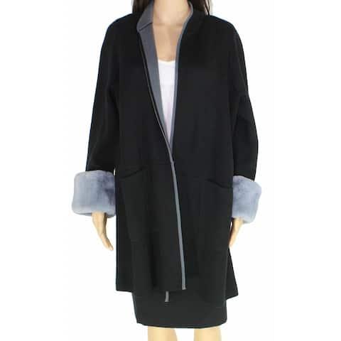 Alfani Womens Jacket Black Size 1X Plus Faux-Fur Cuffs Open-Front
