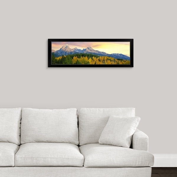 """Sunrise over Teton Range, Taggart Lake Trail, Grand Teton National Park, Wyoming"" Black Framed Print"