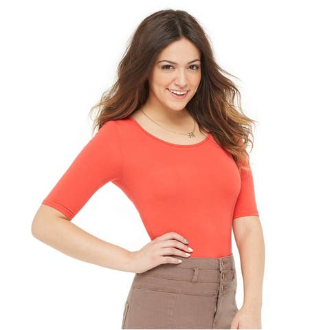 Aeropostale Womens Solid Scoop Bodycon Basic T-Shirt