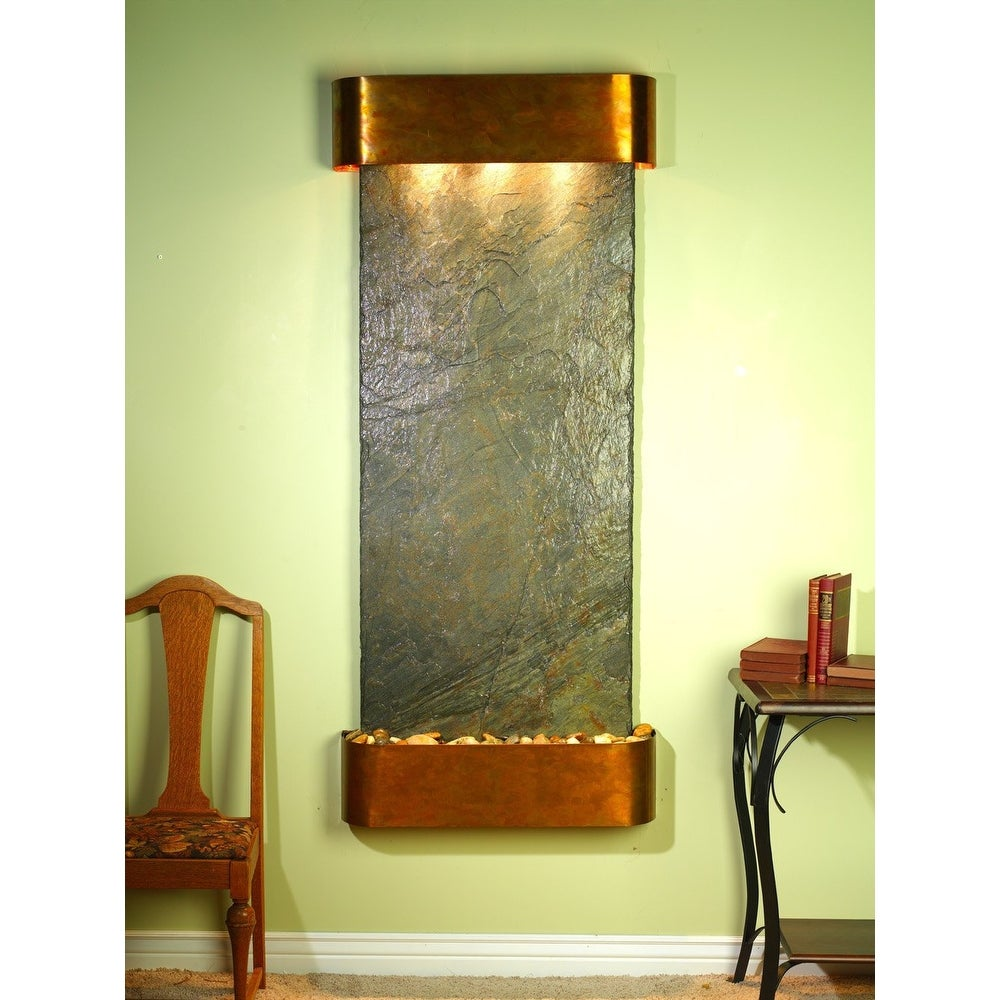 Adagio Inspiration Falls Fountain w/ Green Natural Slate in Rustic Copper Finish - Thumbnail 0