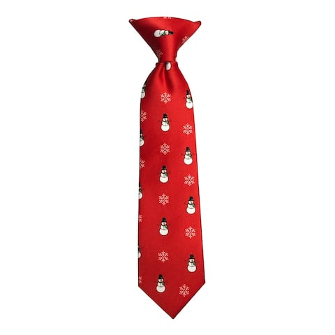 Jacob Alexander Toddler Boys' Red Frosty The Snowman Snowflakes 8 inch Clip-On Neck Tie - Boys 8 inch Clip-On