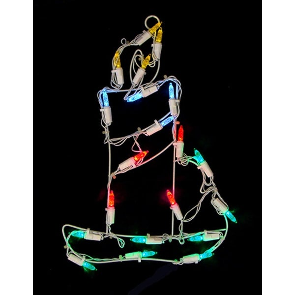 "12"" Battery Operated LED Lighted Candle Christmas Window Silhouette with Timer"