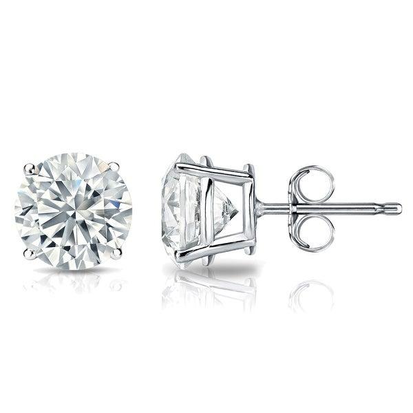 GIA Certified 14k White Gold Round Diamond Stud Earrings 4-Prong (4.00 cttw, K-L, VS2-SI1) PB