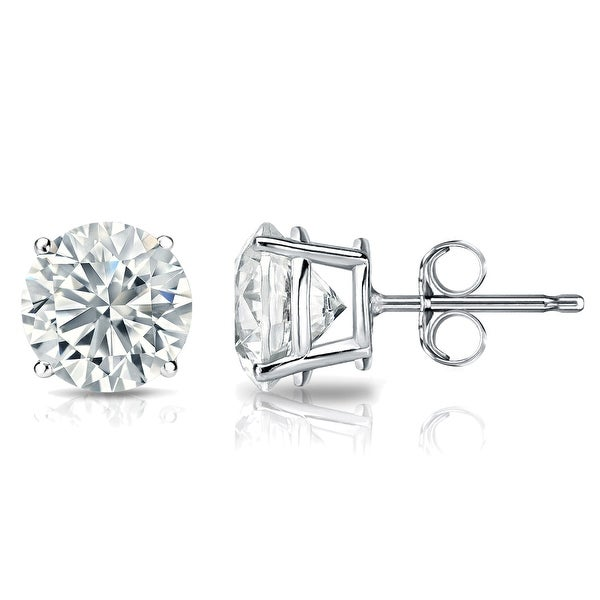 GIA Certified 14k White Gold Round Diamond Stud Earrings 4-Prong (4.20 cttw, K-L, VS2-SI1) PB