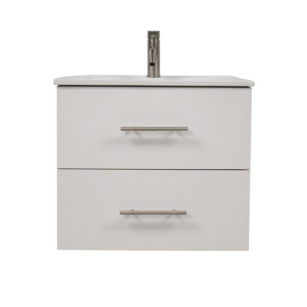 Volpa USA Napa 30-inch Glossy White Wall-Mounted Floating Bathroom Vanity Set. Opens flyout.