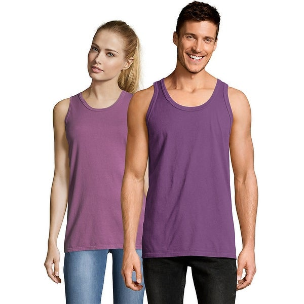 8115d11f185ee Shop Hanes Men s ComfortWash™ Garment Dyed Sleeveless Tank Top - Color -  Purple Plum Raisin - Size - XL - Free Shipping On Orders Over  45 -  Overstock.com - ...