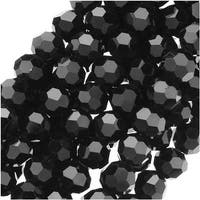 Jet Black Glass Faceted Round Beads 4mm (14.5 Inch Strand)