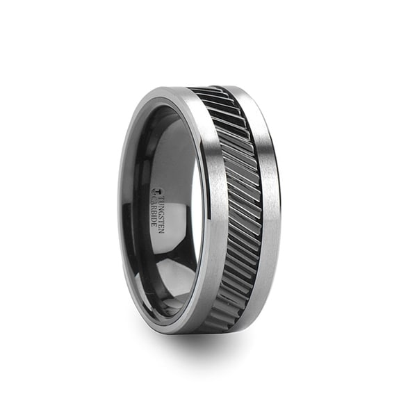 THORSTEN - HELIX Gear Teeth Pattern Black Ceramic and Tungsten Ring - 10mm