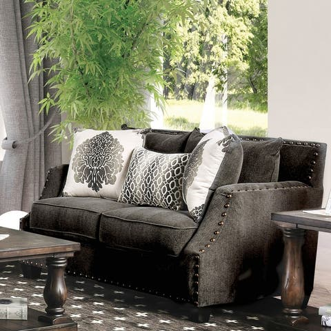 Furniture of America Zack Contemporary Chenille Upholstered Loveseat