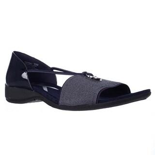 Anne Klein Sport Kameko Wedge Sandals - Navy/Navy White
