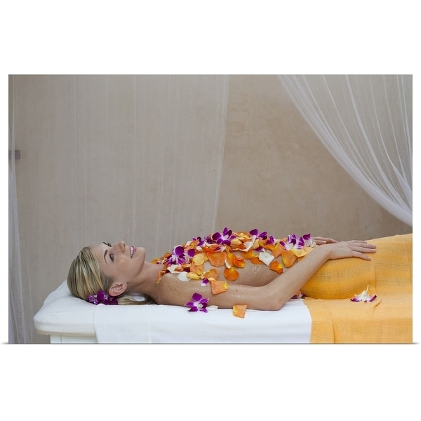 """""""Woman getting a flower treatment at a spa"""" Poster Print"""