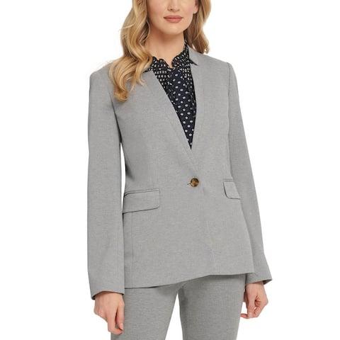DKNY Womens One-Button Blazer Notch Collar Business - Grey Heather