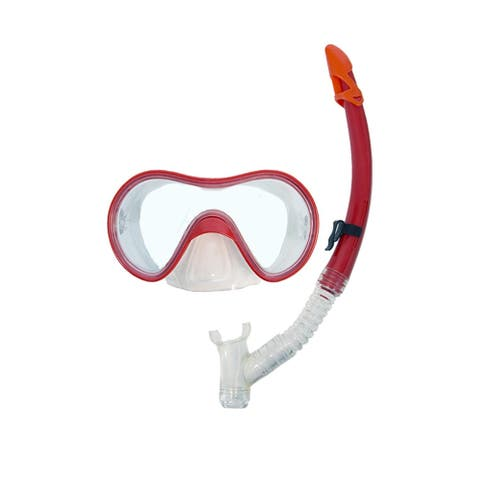 Bright Red Expedition Swimming Mask and Dry Snorkel Set for Teens/Adults