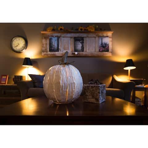 Desert Steel White Squatty Pumpkin Luminary
