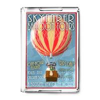 Hot Air Balloon Tours - Vintage Sign - Lantern Press Artwork (Acrylic Serving Tray)