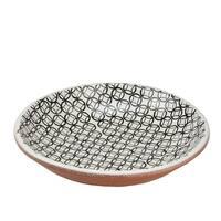 """Basic Luxury Decorative Black Circled Diamonds on White Terracotta Bowl 12.25"""""""