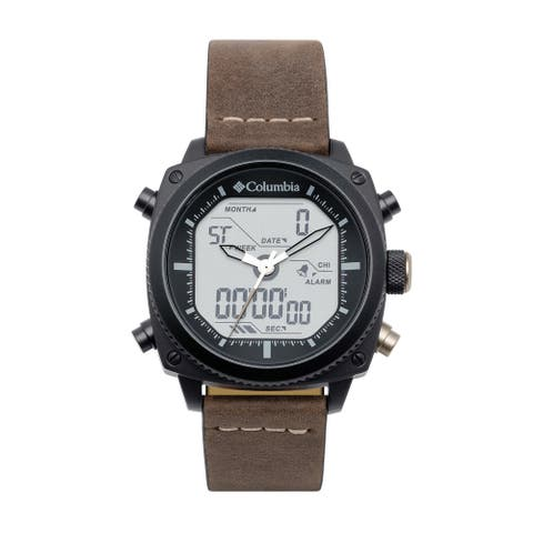 Columbia Ridge Runner Analog-Digital Dark Brown Leather Watch - Digital