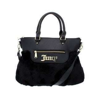 Juicy Couture Womens In The Mix Satchel Handbag Faux Fur Leather Trim Medium