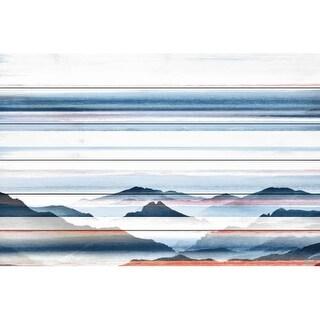 """Parvez Taj PT-WNPW-30-WW-60 40 Inch x 60 Inch """"Hidden Blue Mountains"""" Art Print on White Wood - 40 X 60"""