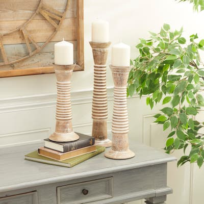Brown Wood Traditional Candle Holder (Set of 3) - 5 x 5 x 18