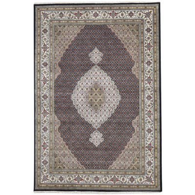 One of a Kind Hand-Knotted Persian 8' x 10' Oriental Wool Black Rug - 7' x 10'